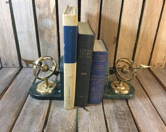 Vintage Marble and Brass Sundial Book Ends, Vintage Book Ends, Sundial Bookends
