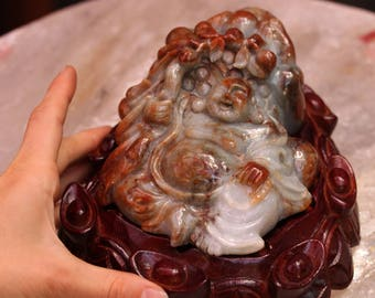 Carved Jade Prosperity Buddha on a Money Frog with Stand