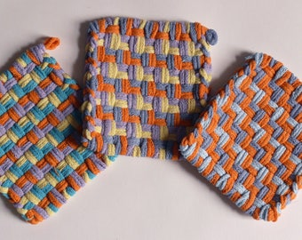 "Set of 3: Bright color, woven pot holders, hot pads - ""In a Tropical Mood"""