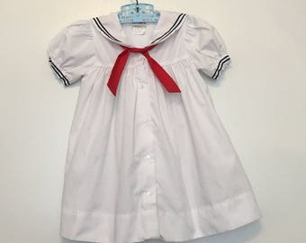 Vintage baby clothes, nautical sailor dress, 24 months, toddler girl, red white and blue