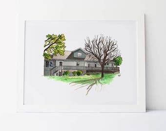 Custom House Portrait - Custom Home Painting - Custom Watercolor House - Real Estate Marketing - Customized House Painting Watercolor