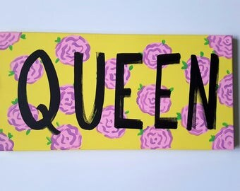Queen Wall Canvas - Word Art Canvas - Inspirational Quote Canvas - Motivational Quote