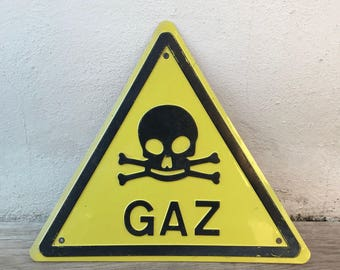 French metal industrial Sign Plaque - biohazard gaz DANGER DE MORT 26021812