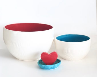 Large Red Handmade Ceramic Bowl