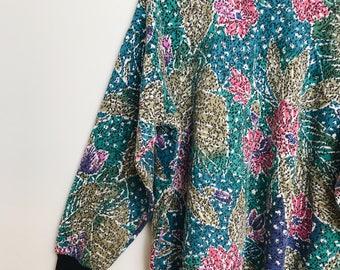 Retro Floral Leaf Print Sweater