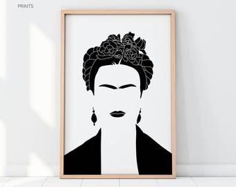 Frida Kahlo PRINTED ART, Iconic Prints, Frida Kahlo Wall Art, Black and White Vector Art, Famous Portrait, Home Decor, Minimalist Art Print