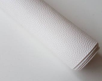 A4 sheet of White Textured Faux Leather