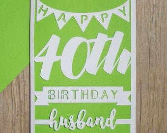 Happy 40th Birthday Husband Card - Husband 40th Birthday Card - Milestone 40th Card for Husband - 40th Husband Birthday