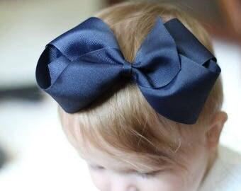 """Texas Size Navy Big Girl Boutique Hair Bow 8"""""""