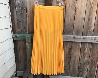 Mustard Yellow Pleated Skirt