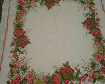 Free Shipping Anywhere!!! Vintage Mid Century Fruit Print Tablecloth