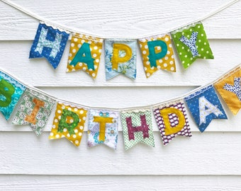 HAPPY BIRTHDAY banner, colorful floral eclectic fabric