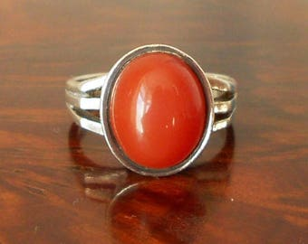 Vintage Silver & Carnelian Ring, Oval Stone, Modernist, Fully Hallmarked, 1971