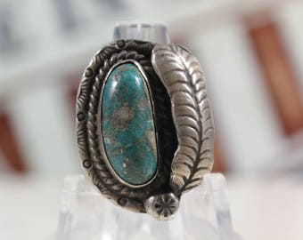 Vintage Navajo Turquoise Sterling Silver Ring #E94
