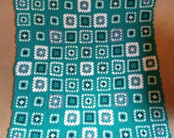 Crocheted Throw or Lap Blanket in Petrel Green and White