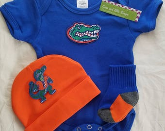University of florida baby outfit-florida gator baby-florida gators baby boy shower git-baby florida gators/florida gator tailgating