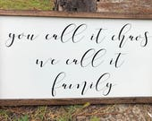 You Call It Chaos, We Call It Family Framed Wood Sign, Farmhouse Decor, Custom Sign