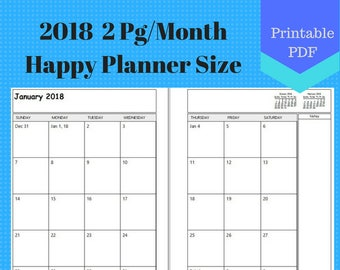 2018 Classic Happy Planner Size Two Page Per Month, Monthly Calendar Pages, Planner, Discbound, Create 365, 2 page per month