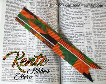 """Set of 5 Kente Ribbon BOOKMARKS - 1-3/8""""x8-1/2"""" - Fabric is printed starched cotton - Ask your questions before you order."""