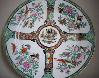 Chinese Export Porcelain - Hand Painted Famille Rose Medallion  - Vintage Chinese hand decorated Plate - Pink Famille Rose Butterfly Plate