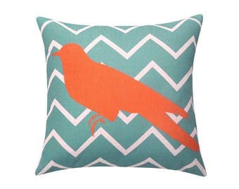 Turquoise chevron bird throw pillow covers Bird silhouette decorative pillow case Stripe cushion cover Linen cushion case Home decor 18x18