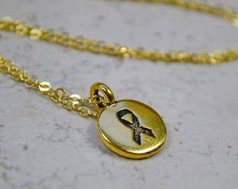 Gold Ribbon Necklace, Golden Cancer Awareness Charm, Gold Plated Chain