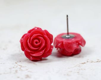 Violet Red Rose Earrings, Bright Red Flowers, Stainless Steel Posts, Botanical Jewelry