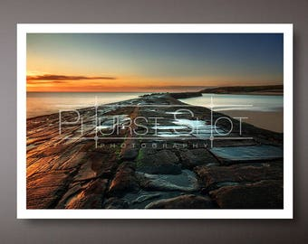 Golden hour print, seascape photo, North East costline, fine art photography, long exposure image, sunrise pictures, golden sunrise shot
