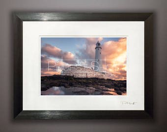Seascape framed print, St Marys Lighthouse, Fine art photography, Sunrise sunset shot, Golden hour image, Storm Clouds, stormscape photo