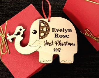 New Baby Ornament  Baby's First Christmas Ornament First Christmas Gift for Baby Ornament Personalized Ornament Wooden Ornament Christmas