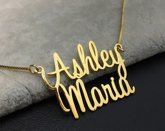 Double Name Necklace, Custom Name Necklace, Tiny Name Necklace, 2 layer Necklace, Gold Name Necklace, Gift Fot Guys