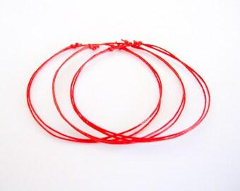 Kabbalah Bracelets or Anklets. Set of 3 Red String Bracelets. Protection. Good Luck. Evil Eye. Hamsa. Adjustable.