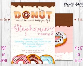 Donut Party - Custom Double-sided Birthday Invitation - Printable Digital File (134)