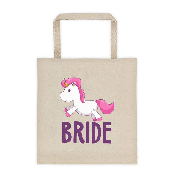 Unicorn Bride Tote Bag, Bride Tote Bag, Bride Bag, Wedding Day Tote for Bride, Bride Gift, Bridal Tote Bag, Bridal Shower Gift Bag, Bridal