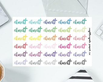 Multicolored Calligraphy Church Planner Stickers