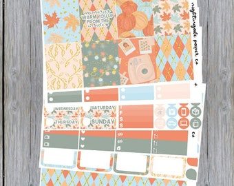 Autumn Memories - Chic Fall Plaid Themed Planner Sticker Kit for use with Erin Condren Lifeplanner