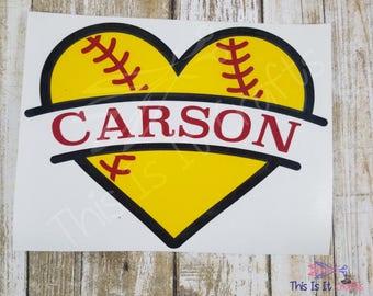 Baseball Heart Decal - Softball Heart Decal - Vinyl Decal - Car Decal