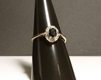 Vintage diamond and sapphire ring, hallmarked 80's, SALE!