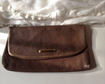 Vintage Perfectly Distressed Brown Pebbled Leather Envelope Clutch / Wallet