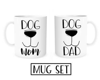 Dog Mom Dog Dad Mug Set, Dog Mom Mug, Dog Dad Mug, Dog Mom, Dog Dad, Gift for Dog Owners, Gift for Dog Lovers