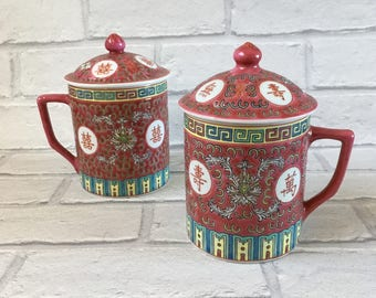 Pair of Gorgeous Lidded Red Mun Shou Longevity Pattern Famille Rose Medallion Mug Cups - Made In China Porcelain