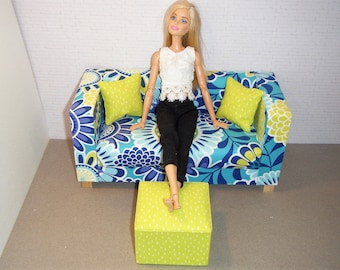 Doll Furniture Sofa, Pouf, and Pillows - Barbie Momoko, Blythe, Pullip, Fashion Dolls - 1:6 Playscale Living Room Diorama - Blue Green