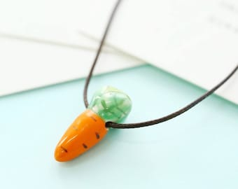Handmade Painted Ceramic Carrot Necklace
