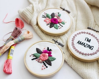 Mini Floral Embroidery Kit, Modern Embroidery Kit, Mini Embroidery Pattern, Valentine's Day Gift, Empowerment Embroidery Kit, Gift For Her