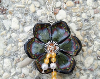 Orange flower necklace made of polymer clay steampunk and beads