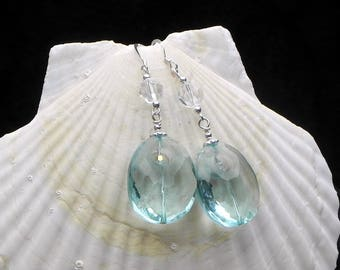 Aquamarine, Swarovski, and Sterling Earrings