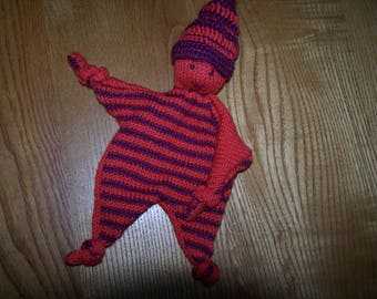 striped hand knitted Pixie blanket