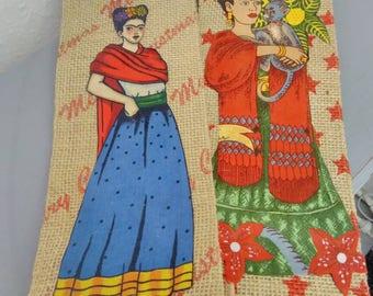 Frida Kahlo embellished jute Christmas bottle bags. Secret Santa - Stocking stuffer - hostess gift.