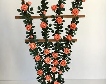 Dollhouse Miniature Coral Rose Trellis Artist Made