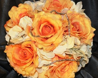 """FULL PRICE!!!  Ready to Ship 10"""" Real Touch Roses Hydrangeas Rhinestone Brooch Bouquet,Custom Bling Bouquet"""